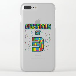 3rd Birthday Gift Awesome At 3 Years Blocks Brick  Clear iPhone Case