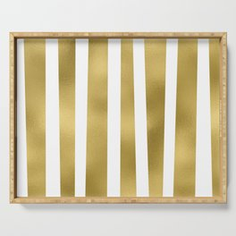 Gold unequal stripes on clear white - vertical pattern Serving Tray