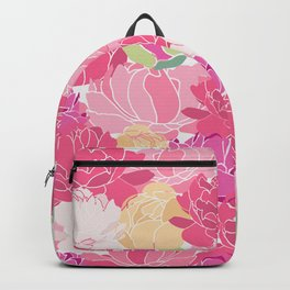 Bunch of Colorful Peonies Flowers Pattern Backpack