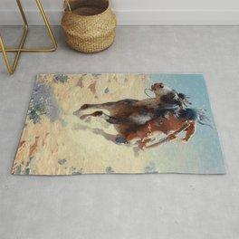 "William Leigh Western Art ""Indian Rider"" Rug"