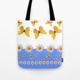 BLUE MODERN ART YELLOW BUTTERFLIES & WHITE DAISIES Tote Bag