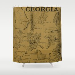 Vintage Agricultural Map of Georgia (1915) - Tan Shower Curtain