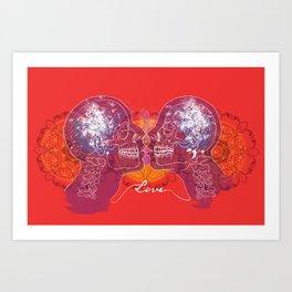Cosmic Love - Red Art Print