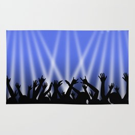 Dancing Crowd With Blue and White Lights Rug