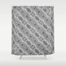 Monochrome Fingerprint Pattern Shower Curtain