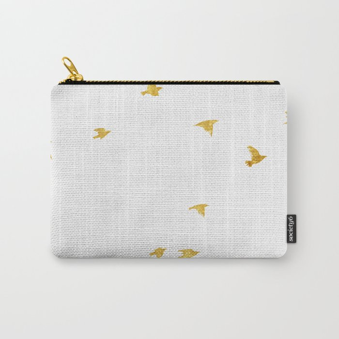 Raven Birds in Gold Copper Bronze Carry-All Pouch