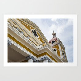 Looking up at the Exterior of the Yellow Granada Cathedral in Downtown Granada, Nicaragua Art Print