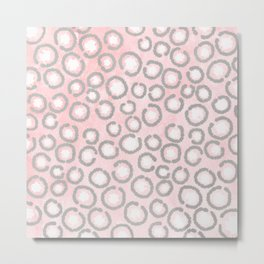 Circle Spots - Coral & Grey Metal Print