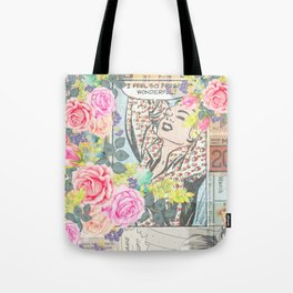 Vintage pink roses retro colorful collage pinup girl Tote Bag