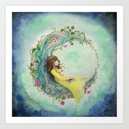The Girl At The Moon Art Print