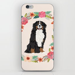 bernese mountain dog floral wreath dog gifts pet portraits iPhone Skin