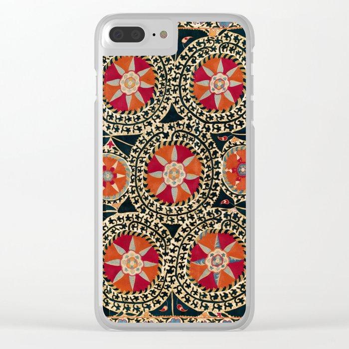 Katti Kurgan Suzani Uzbekistan Embroidery Print Clear iPhone Case