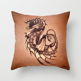 """Tsunami"" by Amber Marine ~ Sea Dragon (Amber Gem Version) ~ Graphite Illustration, (Copyright 2005) Throw Pillow"