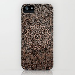 Mandala - rose gold and black marble 3 iPhone Case
