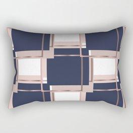Elegant Blue Square Geometric Patterns Rectangular Pillow