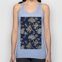 Elegant vintage navy blue faux gold flowers Unisex Tank Top