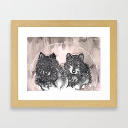 Tale of Two Wolves Framed Art Print