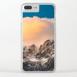 Burning clouds over the mountains Clear iPhone Case