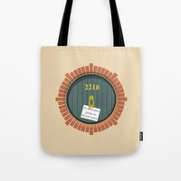 221b Tote Bags featuring 221B Bag End by sirwatson