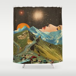 Face on the mountain Shower Curtain