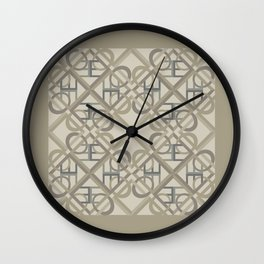 Interlaced Love Mandala Tiled - Warm Neutral Wall Clock