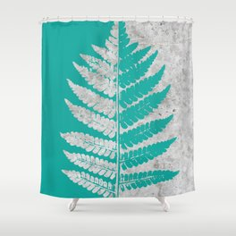 Natural Outlines - Fern Teal & Concrete #180 Shower Curtain
