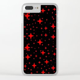 Bright Red Stars in Space , Cristmas Stars Clear iPhone Case