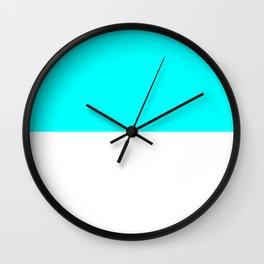 White and Aqua Cyan Horizontal Halves Wall Clock