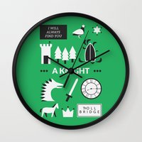 ouat Wall Clocks featuring OUAT - A Knight by Redel Bautista
