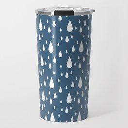 Rain Drops on Blue Travel Mug