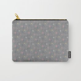 Retro Pink Yellow Light Blue Stars on Silver Gray Carry-All Pouch