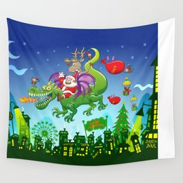 Santa changed his reindeer for a dragon Wall Tapestry