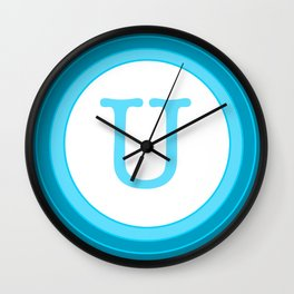 Blue letter U Wall Clock
