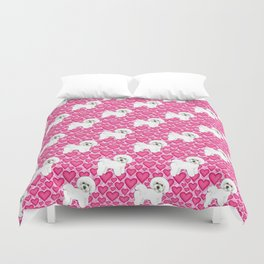Bichon Frise Valentines Day Hearts in pink and red // Ideal valentines gift for Bichon Mom Duvet Cover