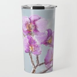 Watercolor Orchids Travel Mug