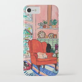 Red Armchair in Pink Interior with Houseplants, Ginger Cat, and Spaniel Interior Painting iPhone Case