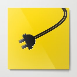 Yellow Power Cord Metal Print