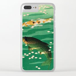 Vintage Japanese Woodblock Print Asian Art Koi Pond Fish Turquoise Green Water Cherry Blossom Clear iPhone Case