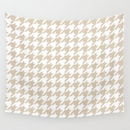 Houndstooth: Beige & White Checkered Design Wall Tapestry