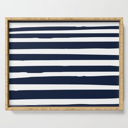 Nautical Ocean Stripes, Navy and White Serving Tray