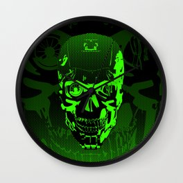 Gamer Skull CARTOON GREEN / 3D render of cyborg head Wall Clock