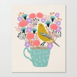 Bird and Flowers - Warbler by Andrea Lauren Canvas Print