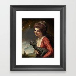 Lady Hamilton with velociraptor  Framed Art Print