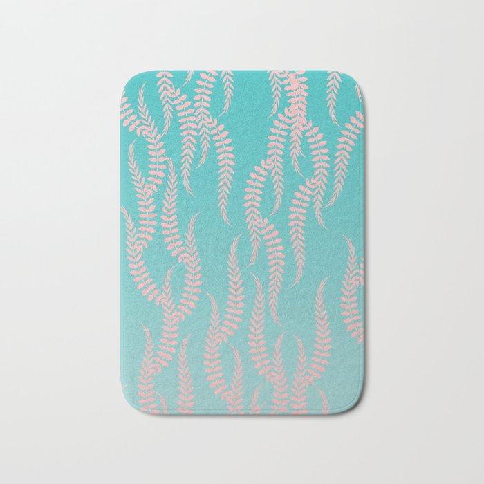 Pastel Leaves Bath Mat