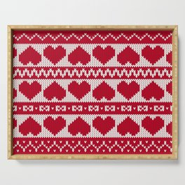 Fair Isle Valentines Day - Red Serving Tray