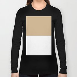 White and Tan Brown Horizontal Halves Long Sleeve T-shirt