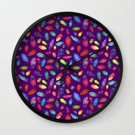Watercolor Feather Pattern on Purple Wall Clock