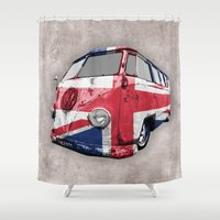 uk Shower Curtains featuring VW UK Flag by Alice Gosling