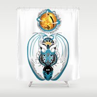 skyfall Shower Curtains featuring Cosmic Skyfall Dragon by Pr0l0gue