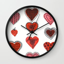 Red and Black Hearts Wall Clock